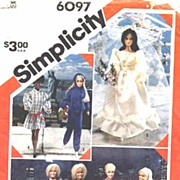 Simplicity #6097 BARBIE Wardrobe Pattern~Wedding Gown! UNCUT, 1983