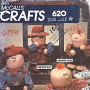 McCall's Crafts #620 Hugachum Country Western Figures Stuffed Toy Pattern-UNCUT, 1982