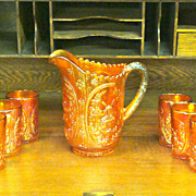 Imperial Marigold Carnival Glass Pitcher and Tumblers