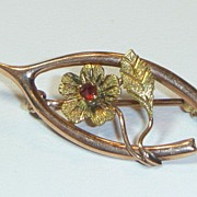 SOLD Vintage 14 K Rose Gold Wishbone Pin