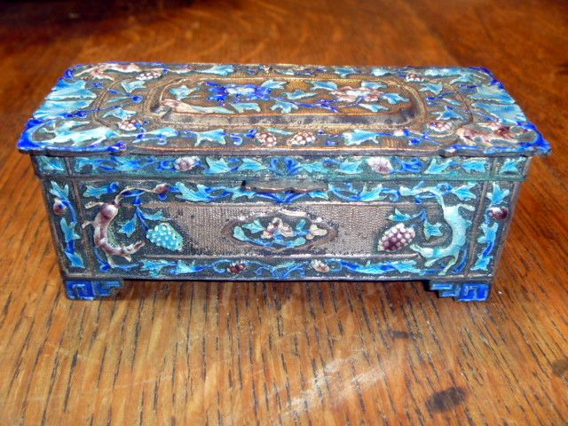 Vintage Chinese Canton Enamel Stamp Box
