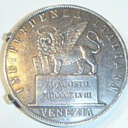 SOLD Antique Italian 5 Lire Coin Locket
