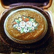 Antique Goldstone Mosaic Brooch