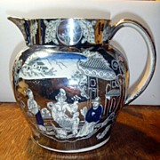 SOLD Antique English Silver Resist Lustre Pitcher