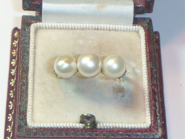Vintage Art Deco 14 K & Natural Saltwater Pearl Ring