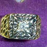 Vintage 14 K & Platinum Diamond Ring
