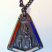 SALE Vintage World War Two Enameled Sterling Catholic Pendant