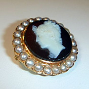 SALE Fantastic Antique 18 K French Hardstone & Pearl Cameo