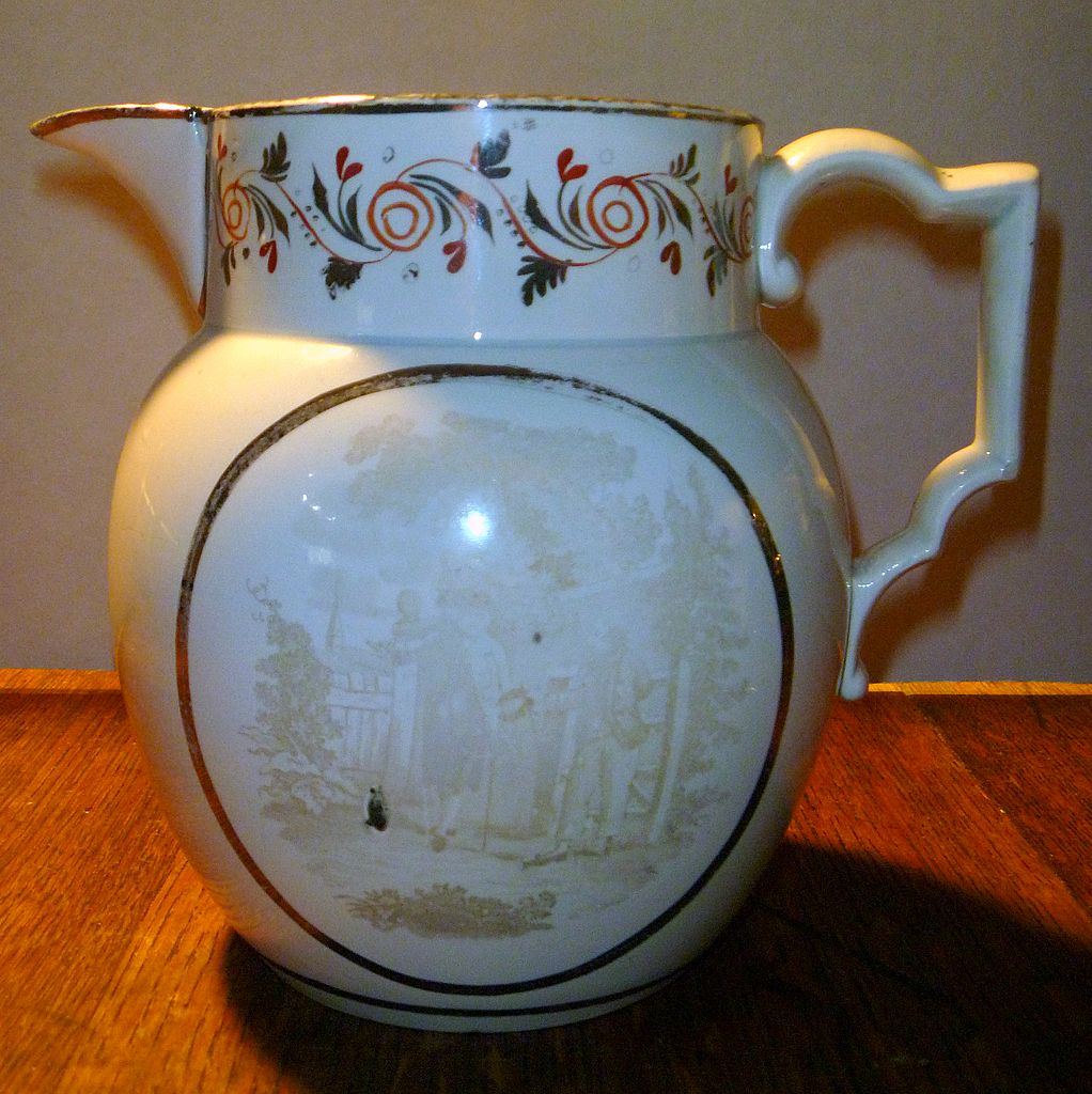 Antique Pearlware Silver Luster Pitcher