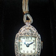 SOLD Vintage Hamilton Platinum & Diamond Wristwatch