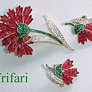 SOLD Fantastic TRIFARI Invisibly Set Faux Rubies & Emeralds Flower Pin & Earrings!