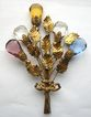 Superb Bouquet of Leaves & Faceted Rhinestones Wire Pin!