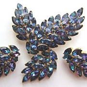 SOLD Fabulous TRIFARI Heliotrope Rhinestones Pin & Earrings!