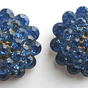 Blazing Blue Rhinestone Earrings!