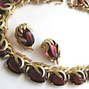 SOLD Fantastic Crown TRIFARI Cranberry Red Cabochons Necklace & Earrings!