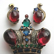 SOLD 1940s Sterling Alfred Philippe for TRIFARI Regal Crown Pin & Earrings!