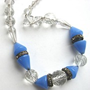 Pretty Crystal & Periwinkle Blue Glass Beads with Rondelles!