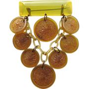Wonderful & Rare BAKELITE Dangling Lemons Bar Pin!