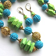 Stunning Colorized Turquoise & Filigree Beads Necklace & Earrings!