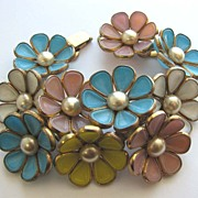SOLD Fabulous TRIFARI Poured Glass Garland of Flowers Bracelet!