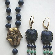 EGYPTIAN REVIVAL Lapis Blue Molded Glass Beads & Earrings