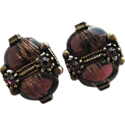 Nifty Purple Art Glass Revival Earrings!
