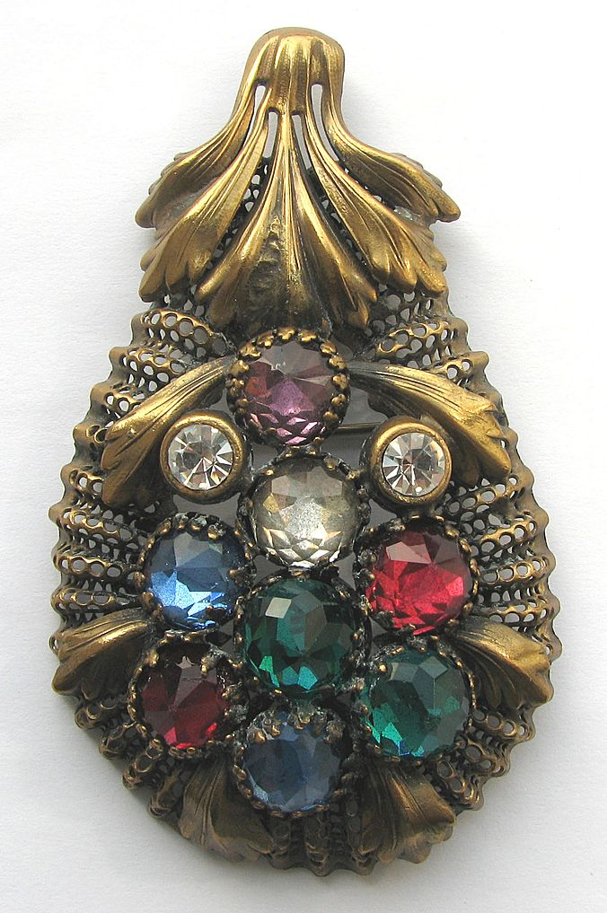 Cool 1930s Multi Colored Brassy Pin!