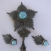 Intriguing WEISS Revival Style Pin & Earrings!