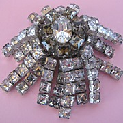 Marvelous CASTLECLIFF Square Cut Rhinestones Dangle Brooch!
