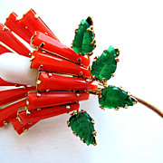 SOLD Fabulous SCHREINER Persimmon Keystone Flower Pin!