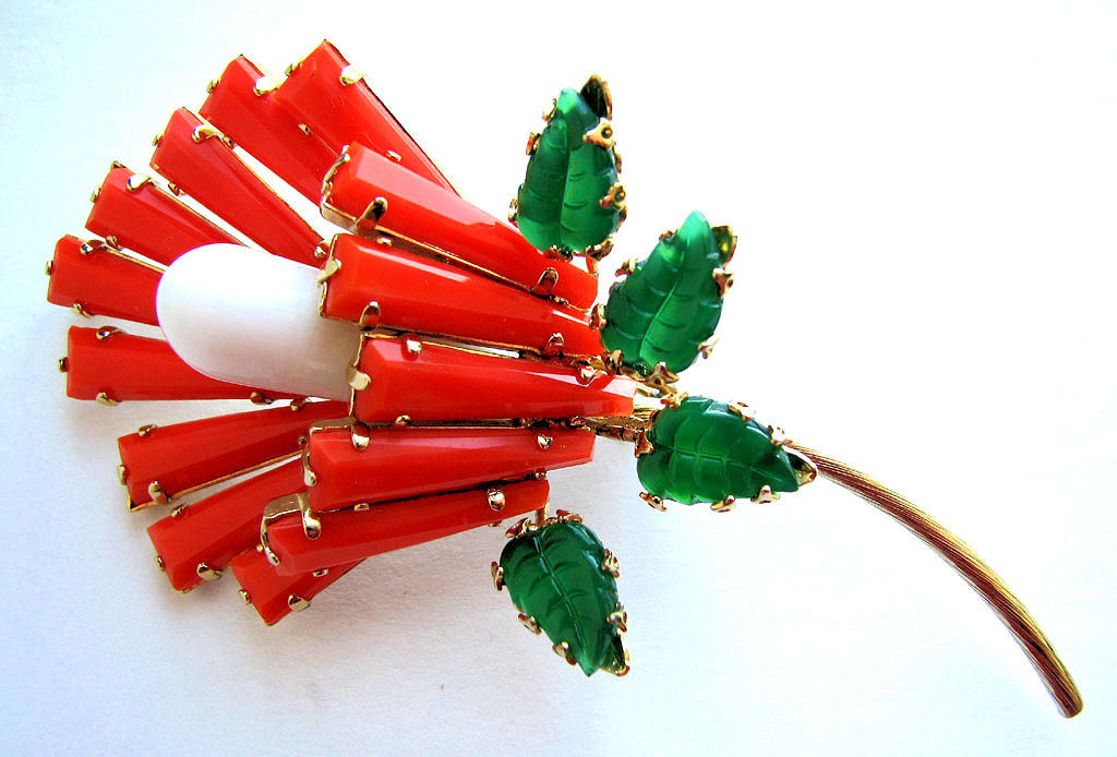 Fabulous SCHREINER Persimmon Keystone Flower Pin!