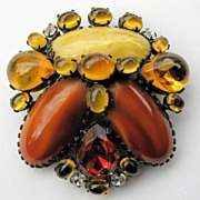 SOLD Scrumptious SCHREINER Signed Pin in Rich Topaz Rhinestones!