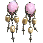 Fascinating Pink Art Glass Dangling Earrings!