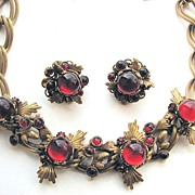 Stunning GERMANY Red Cabochons Necklace & Earrings!