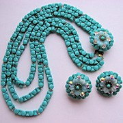 SOLD Fabulous Turquoise HOBE Puzzle Beads with Earrings!