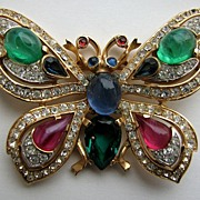 "SOLD Exotic TRIFARI ""Jewels of India"" Butterfly Pin!"