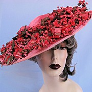 SOLD Smashing Pink Silk & Velvet Flowers Hat by Flo Raye!