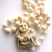 Pre Ban Ivory  Chinese Artist Signed Scrimshaw Beads Necklace