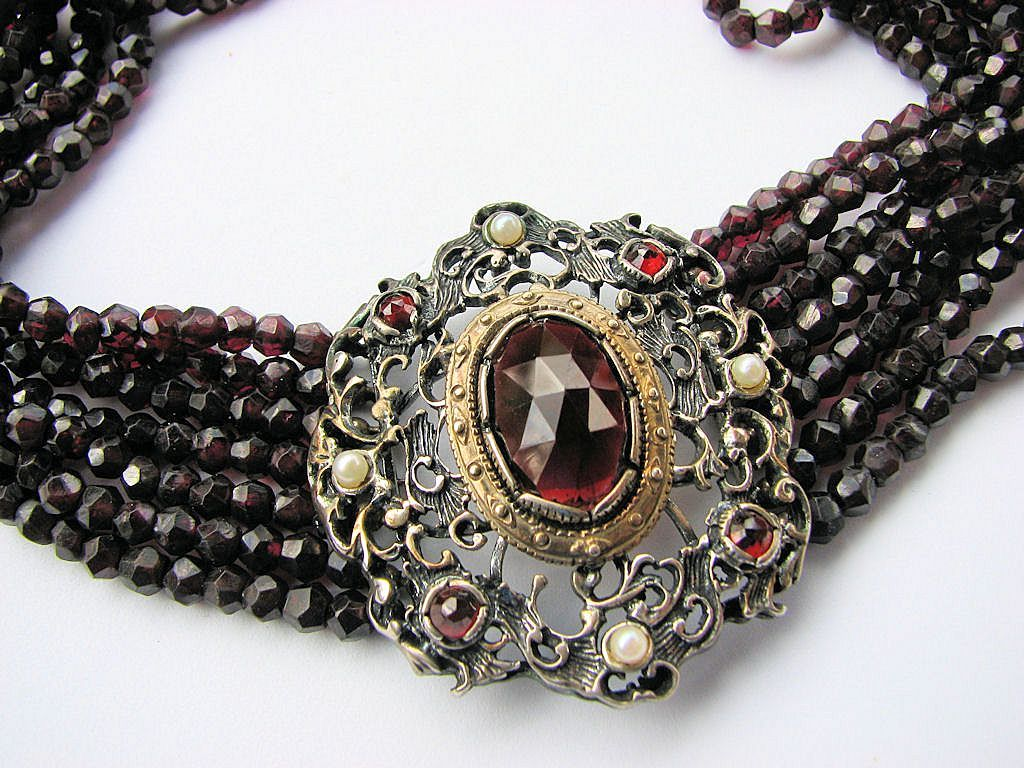 Fabulous Austrian Garnet, Pearl, & Silver Necklace - Artist Signed!