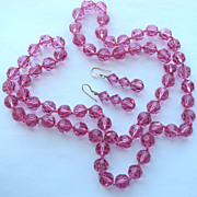 Hand Knotted Pink SWAROVSKI Pink Faceted Crystal Beads with Earrings!