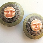 Nifty Hammered Brass and Copper Sun Face Earrings!