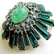 SOLD Fabulous SCHREINER Keystone Inverted Rhinestones Pin or Pendant!