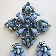 SOLD Shades of Blue SCHREINER Maltese Rhinestones Cross Pin and Earrings!