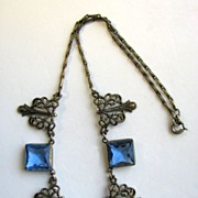 Square Cut Blue Rhinestones & Filigree Czech Style Necklace!