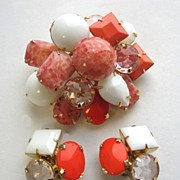 SOLD Stupendous SCHREINER Layered Rhinestones Pin or Pendant & Earrings!