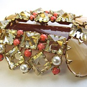 SOLD SCHREINER of New York Carnelian, Coral, Jonquil, Caramel Rhinestones Pin or Pendant!