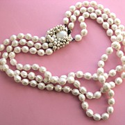 Pretty Triple Strand Ornate Clasp Hand Knotted JAPAN Faux Pearls!