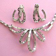 "SOLD TRIFARI  1952 ""Place Vendome"" Baguette Rhinestones Necklace & Earrings!"