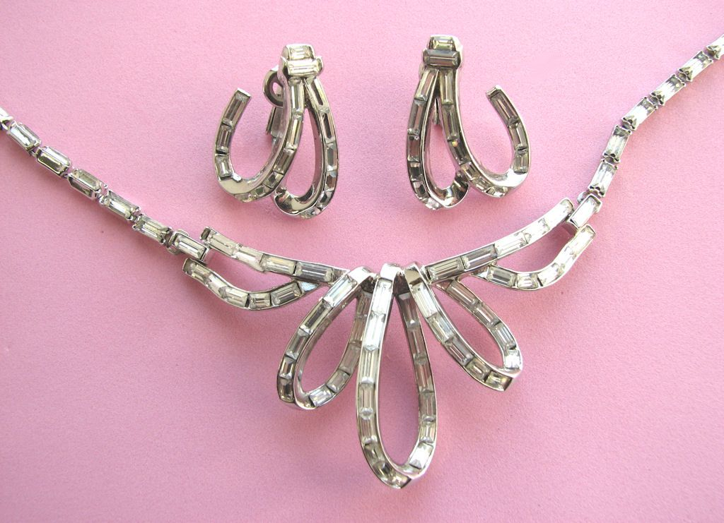 "TRIFARI  1952 ""Place Vendome"" Baguette Rhinestones Necklace & Earrings!"