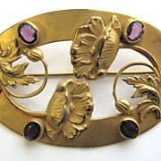 Beautiful VICTORIAN Sash Pin with Poppies & Purple Rhinestones!